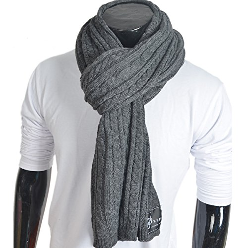 Knit Scarf Long Cable (Z&s Stylish Men Cable Soft Knit Infinity Scarf (E5041-Dark Gray))