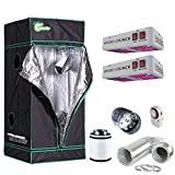 Hydro Crunch TKLED-31X31X70 600-Watt Equivalent Bloom Full Spectrum LED Plant Light Fixture with Grow Tent and Ventilation System, LED600W+31X31X71+4″ Fan Combo