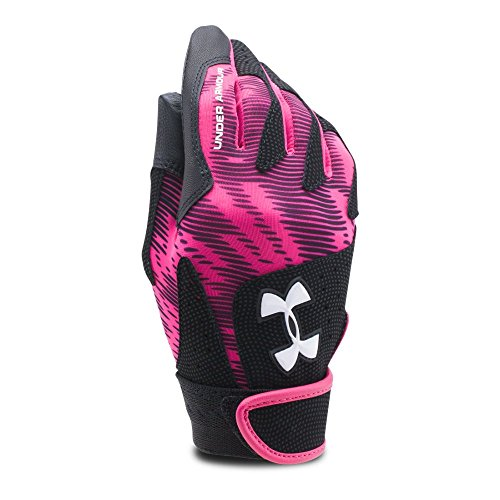 Under Armour Women's Radar III Softball Batting Gloves, Tropic Pink/White, Medium