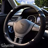 Valleycomfy Steering Wheel Cover, Microfiber Leather Viscose, Breathable, Anti-Slip, Odorless, Warm in Winter Cool in Summer, Universal 15 Inches (Black): more info