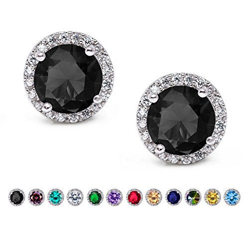 SWEETV Cubic Zirconia Stud Earrings, 10mm Round Cut, Rhinestone Hypoallergenic Earrings for Women & Girls, Black