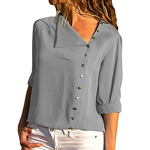 (CCSDR Hanes Hoodies for Women Zip Up 2018 New Casual Henleys Womens Casual Lapel Neck T-Shirt Ladies Long Sleeve Buckle Blouse Tops Gray 2XL )