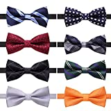 AUSKY 8 PACKS Elegant Adjustable Pre-tied bow ties for Men Boys in Different Colors (E)