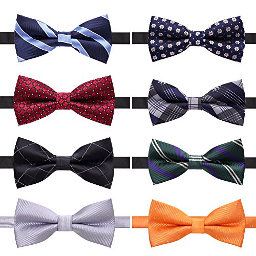 (AUSKY 8 PACKS Elegant Adjustable Pre-tied bow ties for Men Boys in Different Colors)