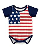 BIgface Up Baby 4th July USA Flag Bodysuits One Pieces Summer Romper(Red&Short 70)