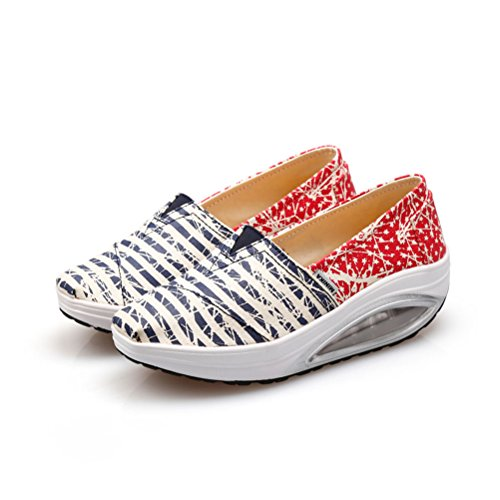 EnoSra Women's Canvas Slip On Shape Ups Sneakers Toning Shoes (US8.5=EU40)