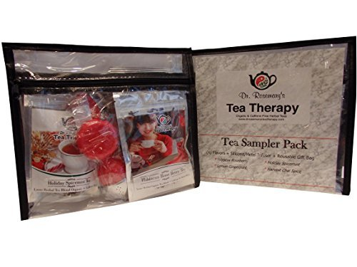 Tea Sampler Pack with Infuser and 4 Flavored Organic Herbal Teas - Harvest Chai Spice, Lemon Gingermint, Hibiscus Roseberry and Holiday Spicemint! Travel Gift Set Reusable Clear Vinyl Zippered bag! (Gingermint Body)