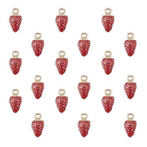 - PH PandaHall 1 Box (About 30pcs) Gold Alloy Enamel Fruit Strawberry Pendants Charms Gold Plated Pendants Beads for Earring, Necklace, Bracelet