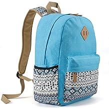 Plambag Teen Girls Backpack Cute Bookbag, Lightweight Canvas Laptop School Backpack Sky Blue
