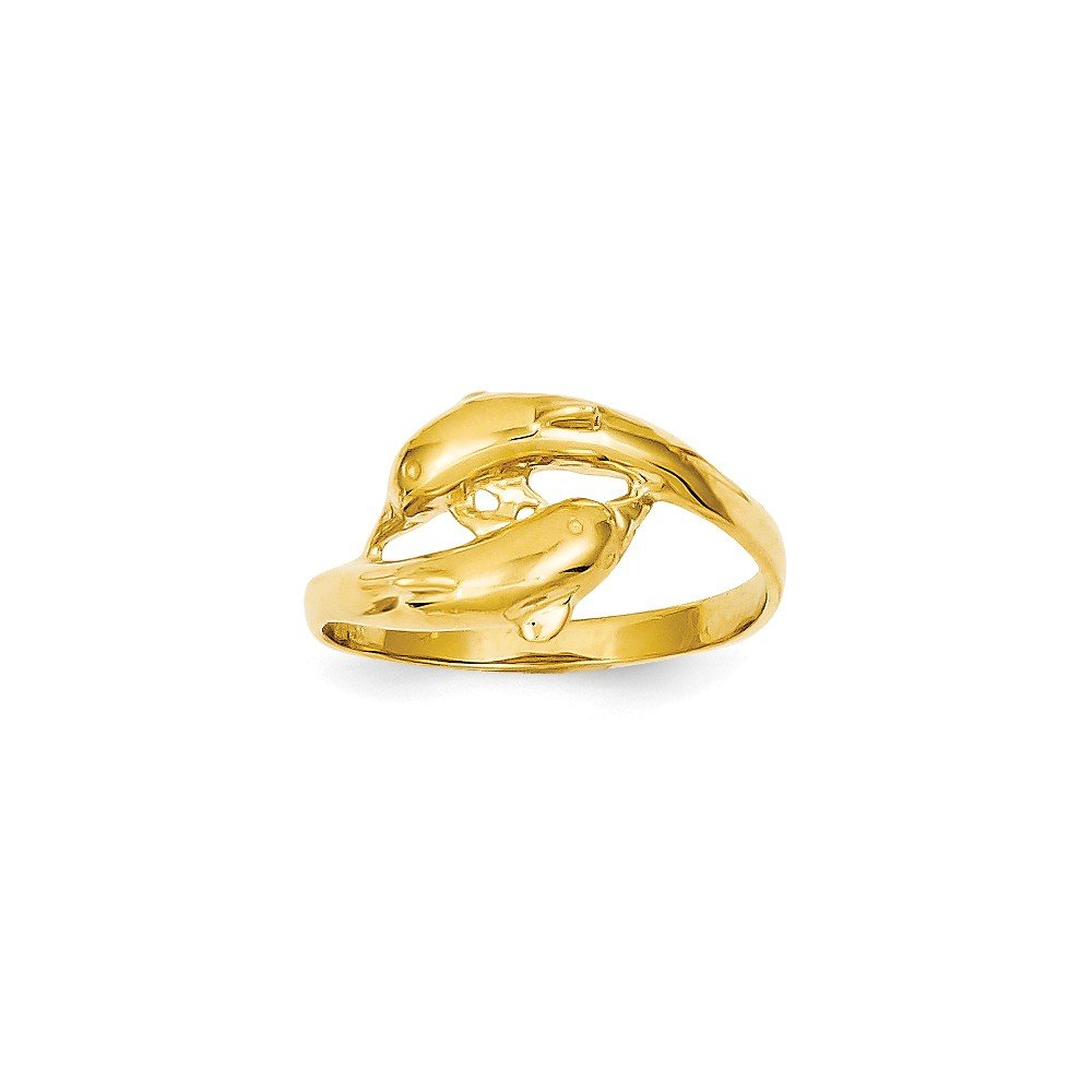 14k Yellow Gold Double Dolphins Ring by Jewelry Pot