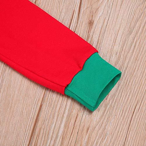 Noël Col Pantalon 2 rouge Pyjamas manma Décontractée Set Maman Chemisier Nuit Hauts Femmes Un Rovinci Famille Rond Patchwork Vêtements Impression De Père Manche Longue Claus xwU7Iw4B