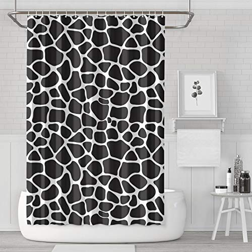 (BOShout Black Giraffe Skin Print Shower Curtain Hooks Water Resistant for Bathroom,Printing Bath)