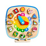 Wooden Magnetic Clock, Preschool Educational Shape Color Recognition Geometric Board Block Stack Sort Puzzle Toys, Birthday gifts toy for age 3 4 5 Years Old and Up Kid Children Baby Toddler Boy Girl