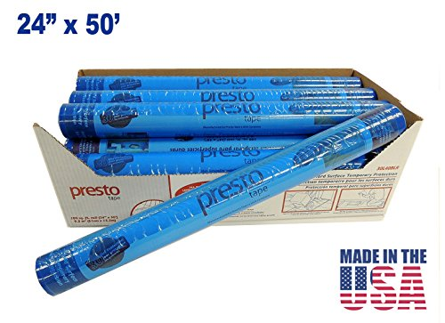 Hard Surface Film Temporary Floor Protection 24'' X 50' Reverse Wind-Color BLUE - MADE IN USA 7 Rolls by PackagingSuppliesByMail