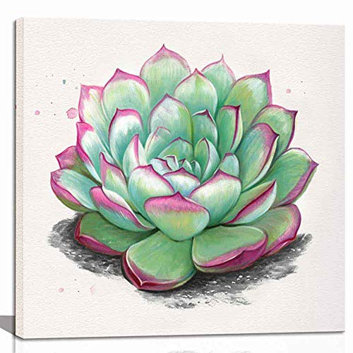 CANVASZON Succulent Wall Art Green Plant Simple Life Canvas Posters Prints Watercolor Green Leaf Framed Nature Pictures for Living Room Kitchen Decorations Ready to Hang 12x12