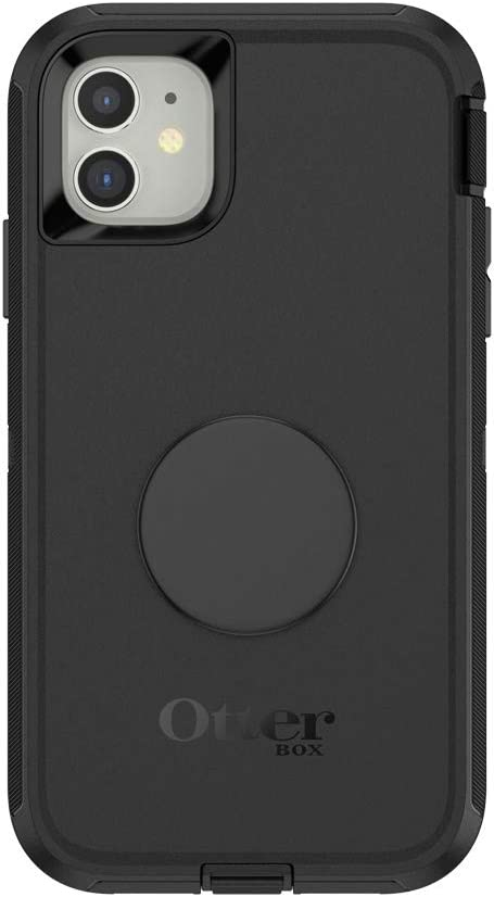 Otter + Pop for iPhone 11: OtterBox Defender Series Case with PopSockets Swappable PopTop - Black and Aluminum Black