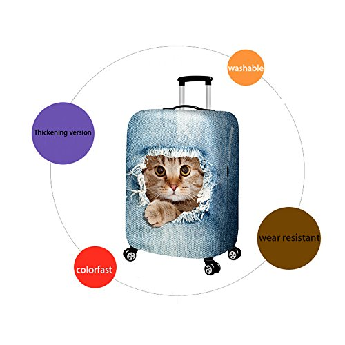 Denim 3D Cute cat Dog Styles Washable Print Luggage Cover Protector Suitcase Cover Carry On Cover with Zipper Fits 18-32 Inch Luggage for Holiday Travel and Great Gift Idea (Cat Grey, M) by LANGUGU (Image #3)