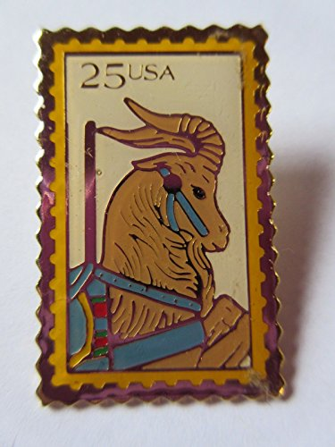 1988 25c Carousel GOAT SC #2393 Postage Stamp Replica Pin USPS Post Office NEW