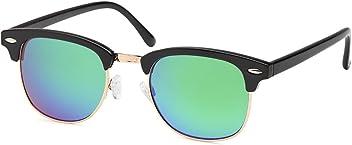 Vintage Wayfarer Halbrand-Sonnenbrille mit Flachglas aus Polycarbonat UV400 Filter - Im Set mit Etui
