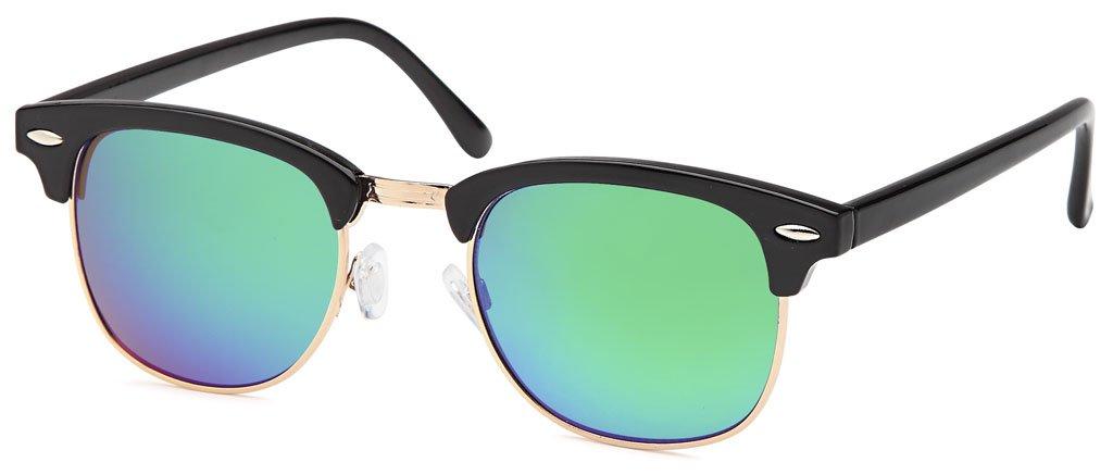 Vintage Wayfarer Halbrand-Sonnenbrille mit Flachglas aus Polycarbonat UV400 Filter - Im Set mit Etui (Blau verspiegelt) GrKxwwAK