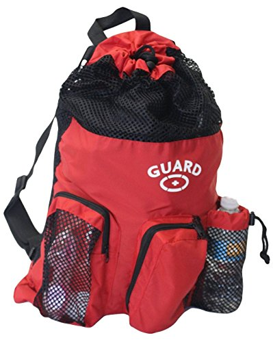 Adoretex Guard Mesh Equipment Backpack with Free Whistle and Lanyard (GB001) - Red/Black