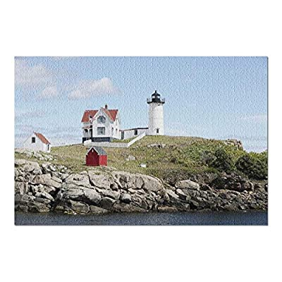 Kittery, Maine - Nubble Lighthouse on a Sunny Day 9023927 (Premium 1000 Piece Jigsaw Puzzle for Adults, 20x30, Made in USA!): Toys & Games