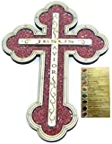 Jesus Savior Cross filled with firy reddish carnelian semi precious stones from the Holy Land