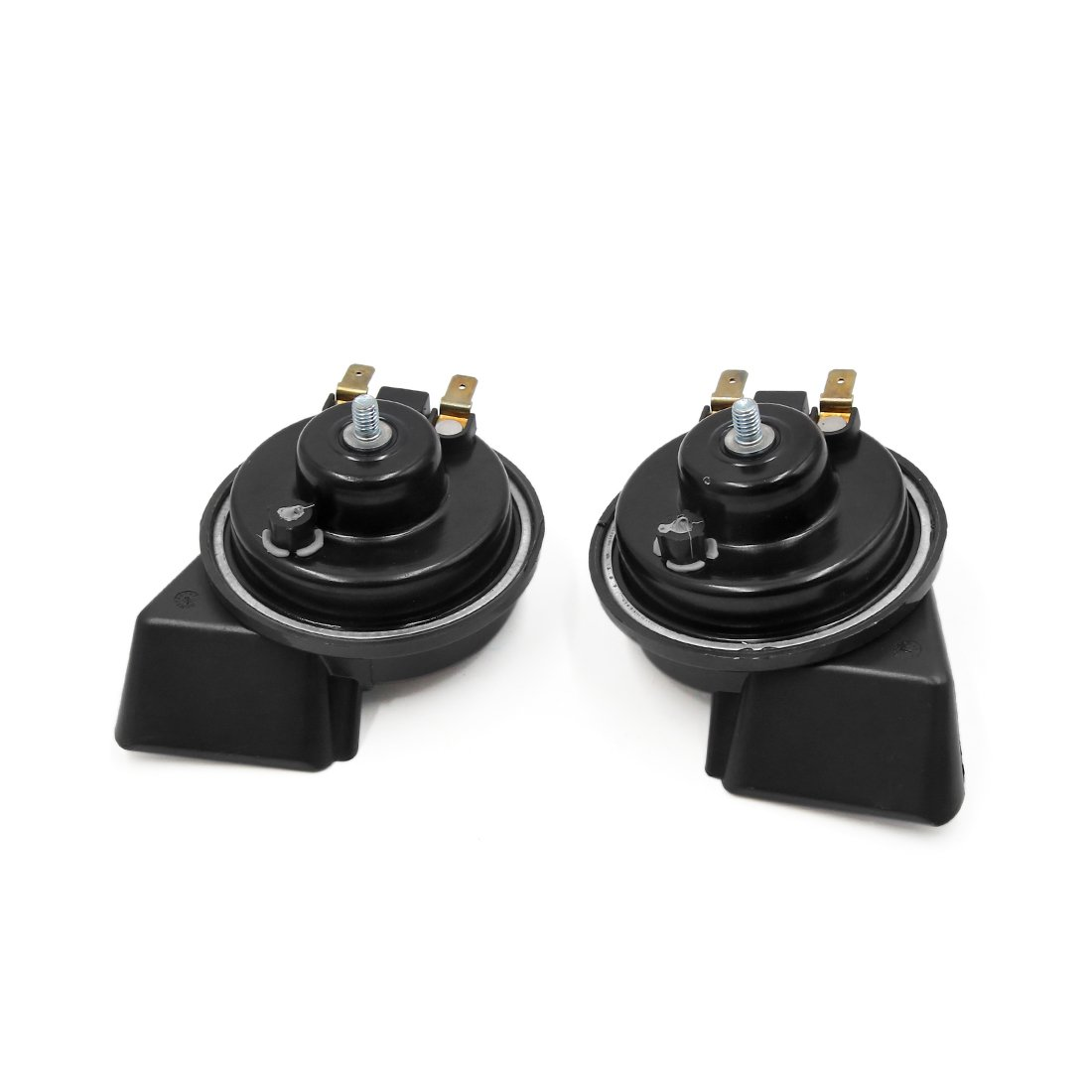 uxcell 2pcs Black 12V 500Hz 400Hz 110dB High Low Sound Electric Snail Horn for Car by uxcell (Image #2)