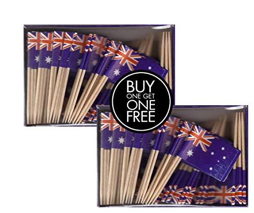 2 Boxes of Mini Australia Toothpick Flags, 200 Small Australian Flag Toothpicks or Cocktail Sticks & Picks -