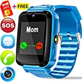 Kids Phone Smart Watch - [Speedtalk SIM Card] Kids Smartwatch for Boys Girls with Mobile Phone SOS Camera Game Sport Outdoor Children Digtal Wrist Watch for Summer Holiday Gift, Blue