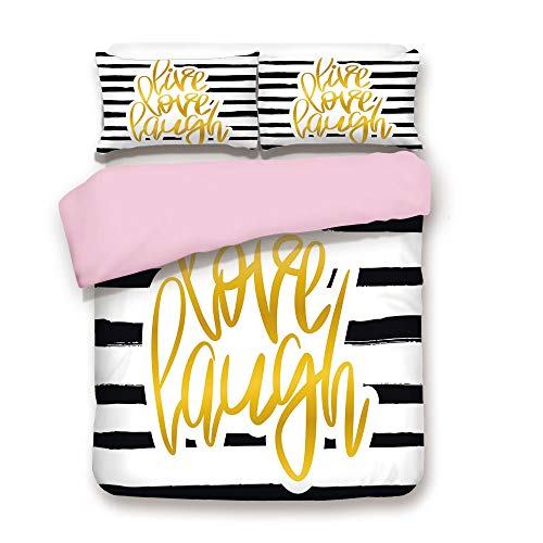 Size Full Bed Set Poster (iPrint Pink Duvet Cover Set,Full Size,Romantic Poster Design with Hand Drawn Stripes and Calligraphy,Decorative 3 Piece Bedding Set with 2 Pillow Sham,Best Gift for Girls Women,Black White Gold)