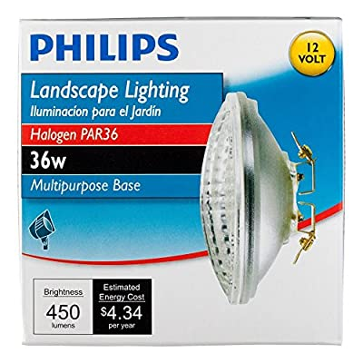 Philips 415257 Landscape Lighting 36-Watt PAR36 Flood Light 12-Volt Multi-Purpose Base Light Bulb 6 Pack