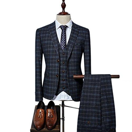 Mens Plaid 3 Pieces Suit Slim Fit Notch Lapel One Button Party Tux Jacket Vest Trousers Set (Black,L)