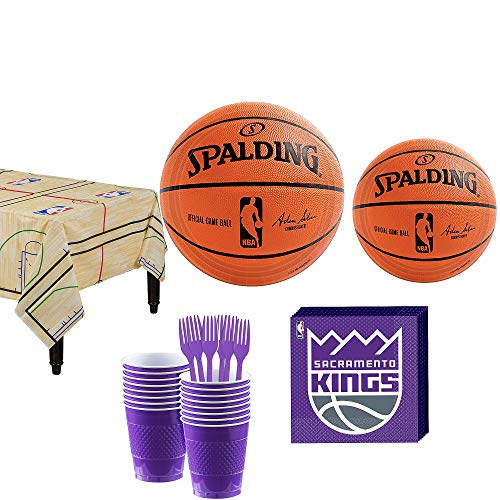 Party City Sacramento Kings Party Kit 16 Guests, Includes Table Cover, Plates, Napkins and More -