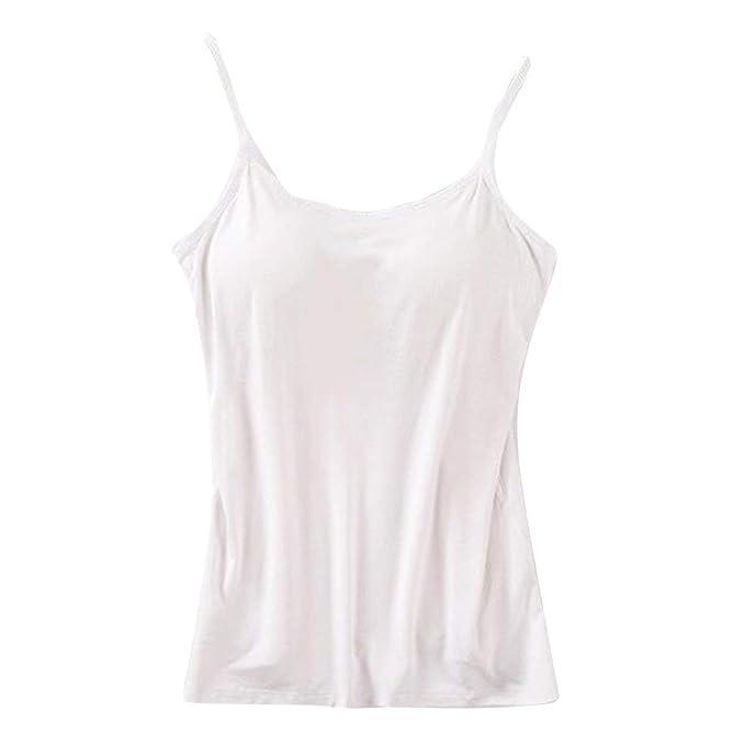 Tank Top para Mujer Básico Mode Sujetador Incorporado Chic Sólido Camisole Acolchado Ajustable Cami Tanks Elegante Moda Casual Cómoda Camiseta Tops: ...