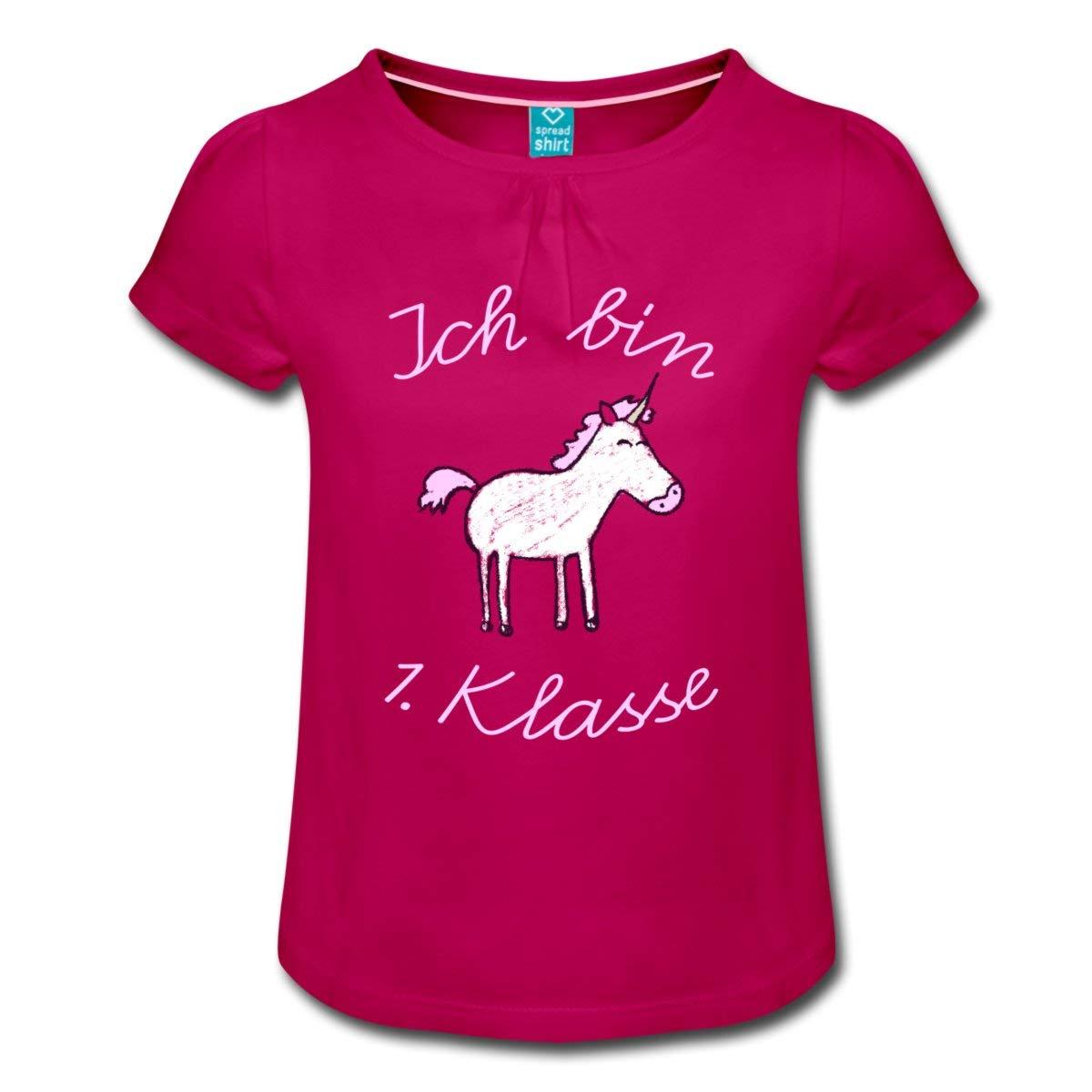 Einschulung Ich Bin 1 Klasse Einhorn Mädchen-T-Shirt mit Raffungen
