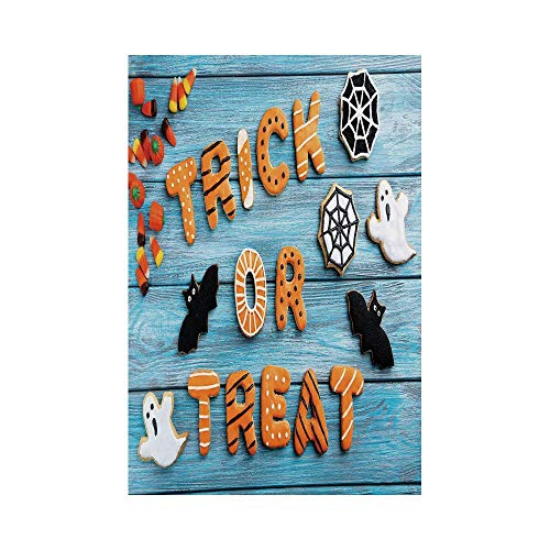 Polyester Garden Flag Outdoor Flag House Flag Banner,Halloween,Fresh Trick or Treat Gingerbread Cookies on Blue Wooden Table Spider Web Ghost Decorative,Multicolor,for Wedding Anniversary Home -