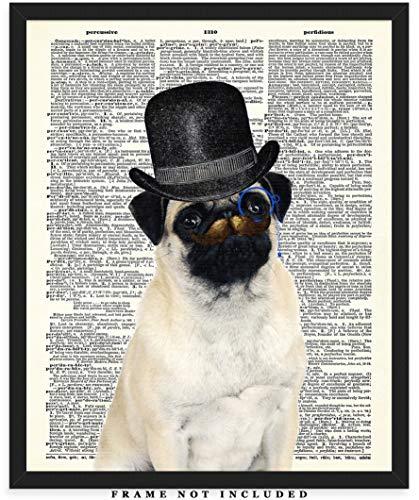 Mr. Pug Mustache Dictionary Wall Art Print: Unique Room Decor for Boys, Men, Girls & Women - (8x10) Unframed Picture - Great Gift Idea Under $15