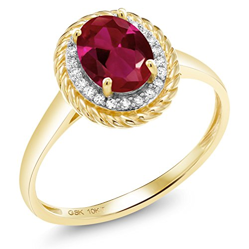 Gem Stone King 1.30 Ct Oval Red Created Ruby White Diamond 10K Yellow Gold Ring (Size 6)