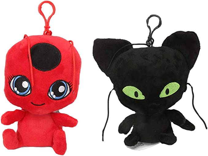 LodeStar 2Pcs//Set Miraculous Ladybug Cat Plagg /& Tikki Noir Felpa Juguetes Lady Bug