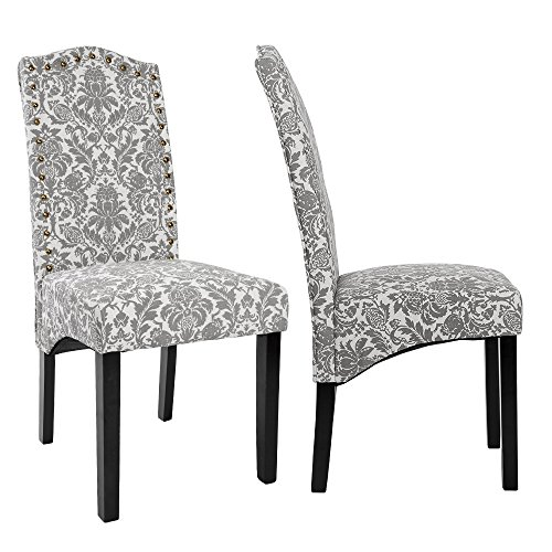 Merax Fabric Accent Chair Dining Room Chair with Solid Wood Legs, Beige, Set of 2 by Merax