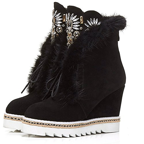 DoraTasia Women's Wedges High Heels Rhinestone and Fur Decorations Winter Casual Ankle Boots Black lmlyXeF4e