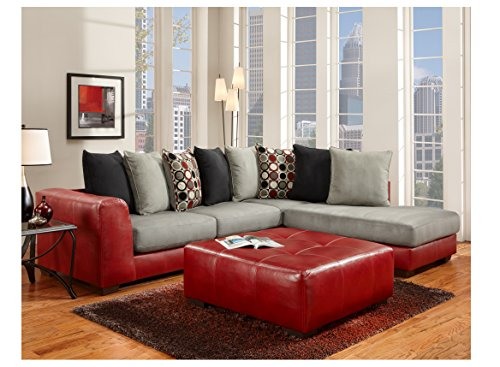 Chelsea Home Furniture Landon Sectional Chelsea in Sierra Red
