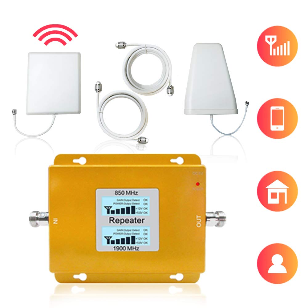 Volferda Cell Phone Signal Booster for AT&T Verizon T-Mobile 2G 3G 4G, U.S.Cellular 2G 4G Dual Band 2 Band 5 Mobile Phone Signal Amplifier for Home & Office by VOLFERDA