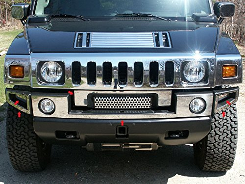 2003-2009 Hummer H2 6pc. Luxury FX Chrome Front Bumper Cover w/Center
