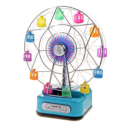 Saim Ferris Wheel Music Box Rotating with Colored Lights for Little Boys Girls Toys Birthday Gift, Blue