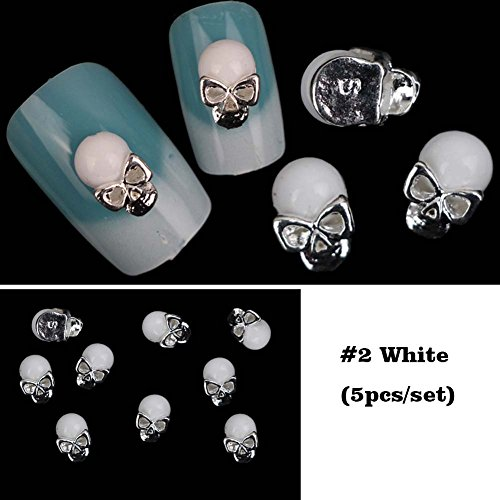 Lookathot 5PCS 3D Nail Art Decals Black White Metallic Skull Studs Rhinestones Diamonds Pearls Drills Alloy Manicure DIY Decoration Tools Halloween (#2 White Skull(5pcs))