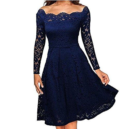 Vestidos de Fiesta de Noche Elegantes De Mujer Casuales Largos De Encaje Manga Larga VE0049 at Amazon Womens Clothing store: