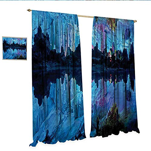 Natural Cave Decor Curtains by Illuminated Reed Flute Cistern with Artifical Crystal Palace Myst Cave Image Print Patterned Drape for Glass Door W96 x L84 Blue.jpg