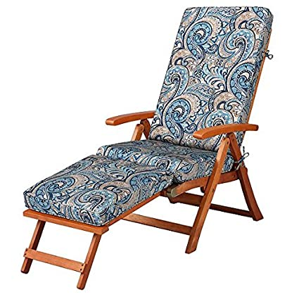 Outdoor All Weather Cushion For Steamer Pool Deck Chair Seasonal  Replacement Cushion Blue Taupe Paisley